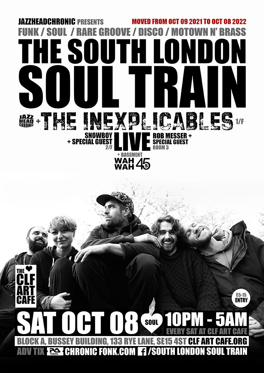 [RESCHEDULED] The South London Soul Train with The Inexplicables (Live) - More - Flyer front